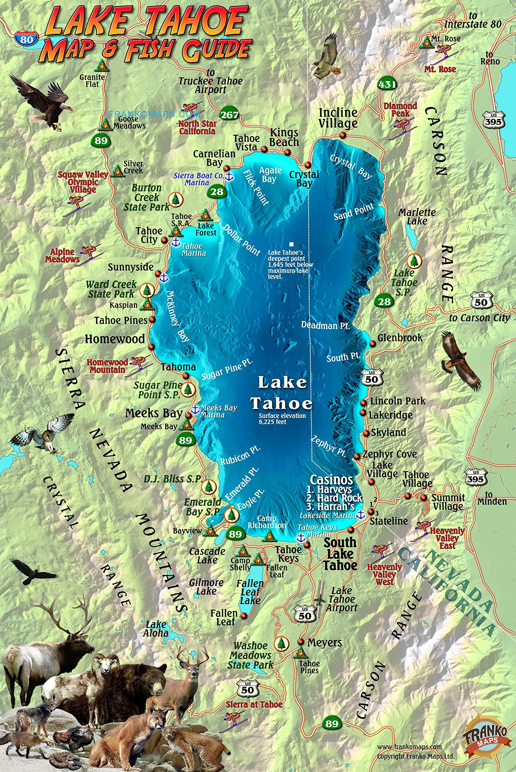 lake tahoe on a map Buy Lake Tahoe Map Fish Guide Franko Maps Laminated Fish Card lake tahoe on a map