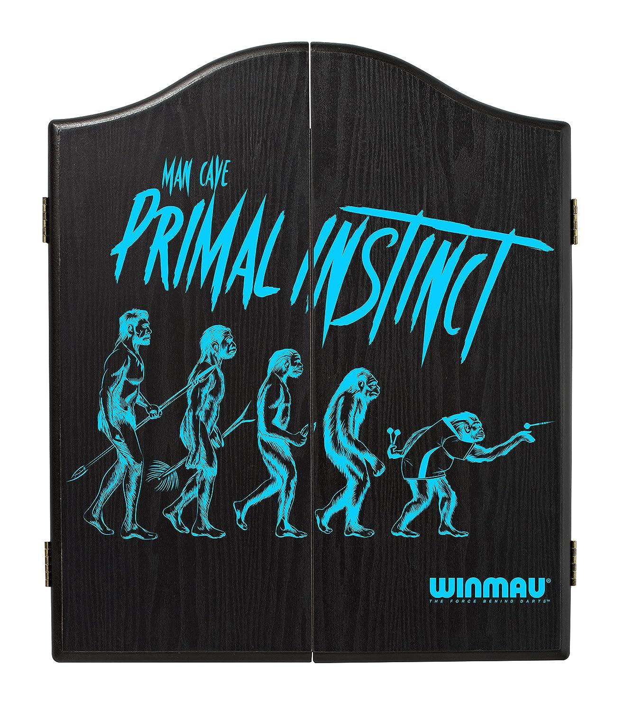WINMAU Man Cave Primal Instinct Black Veneer-Effect Dartboard Cabinet