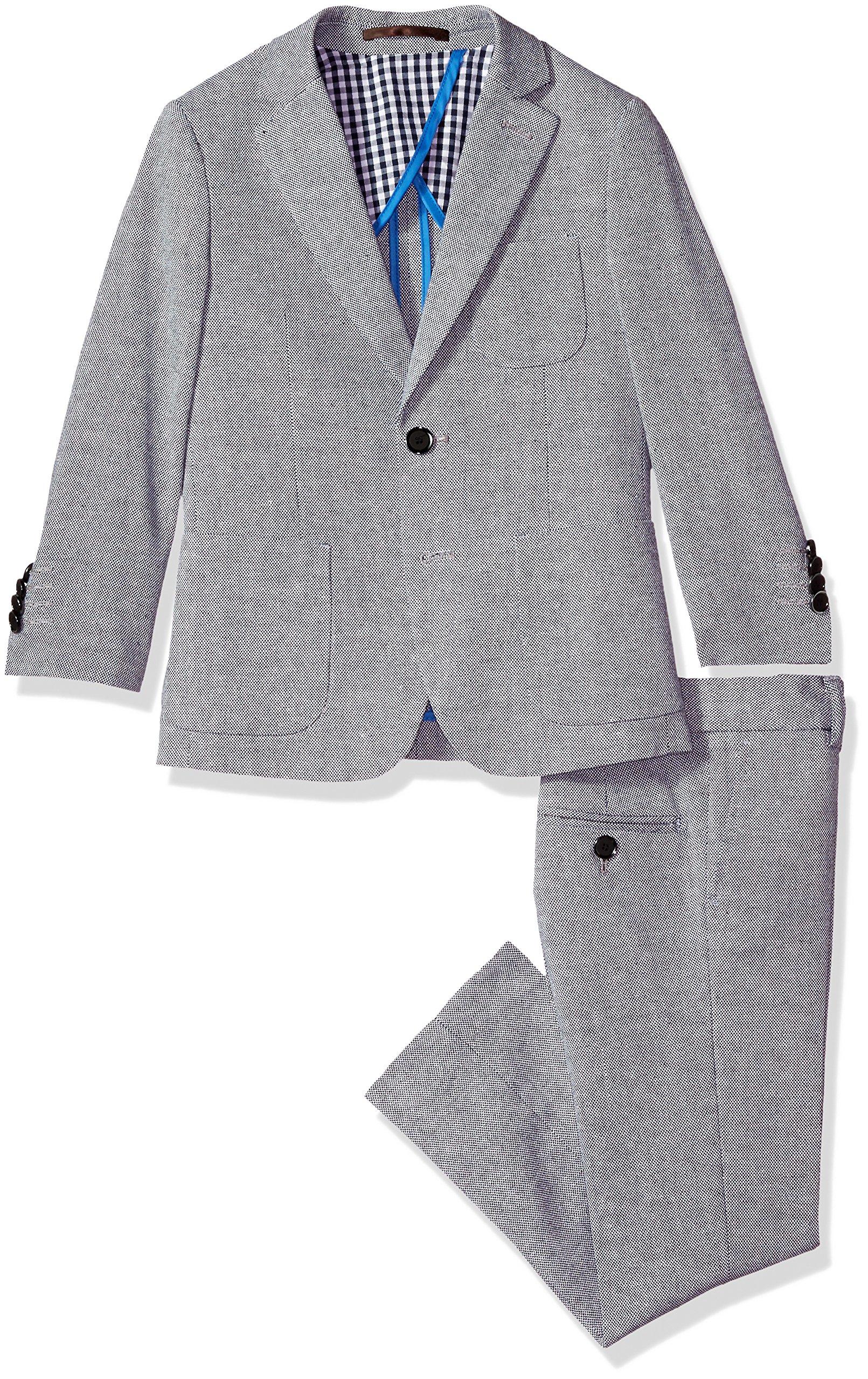 Isaac Mizrahi Little Boys' Solid Classic Linen Suit, Navy, 5