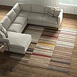 Amazon Brand – Stone & Beam Modern Gabbeh Inspired Wool Area Rug, 8 x 10 Foot, Sand Multi