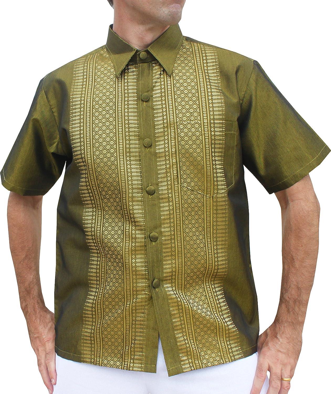 RaanPahMuang Formal Northern Thailand Woven Stitchwork Short Sleeve Silk Shirt