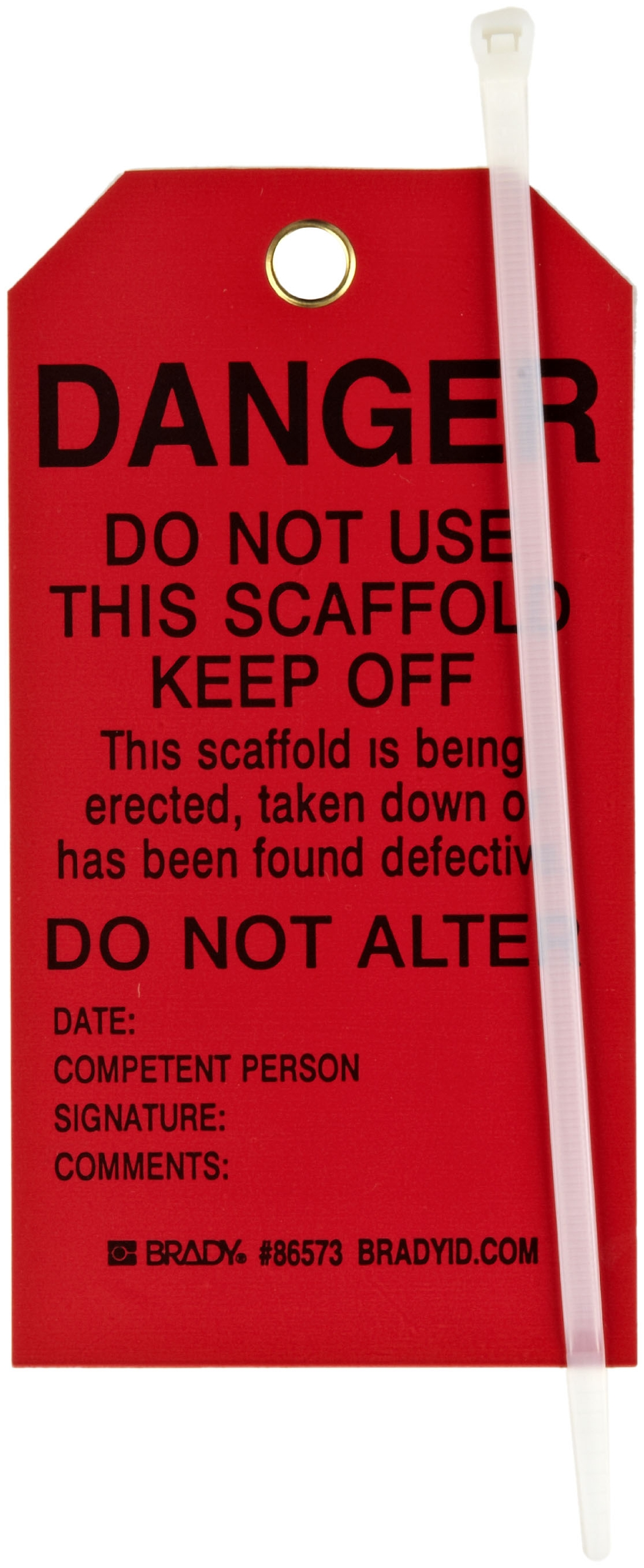 Brady 86573 5-3/4'' Height, 3'' Width, B-851 Economy Polyester, Black On Red Color Scaffolding Tag (Pack Of 10)