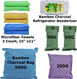 FRESHLAND Natural Bamboo Charcoal Bags, Bamboo Charcoal Refrigerator Deodorizer, and Microfiber Kitchen Towels for Air Purification, Natural Air Deodorizer, Refrigerator Deodorization