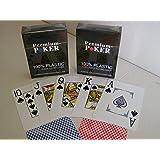 Unbekannt 2 x Premium Poker Karten Jumbo Großer Index 2 Pips Corner Eckzeichen Pokerkarten 100% Plastik Spielkarten Spiel rot blau Mau Mau Skat Rommee Canasta Wasserabweisend