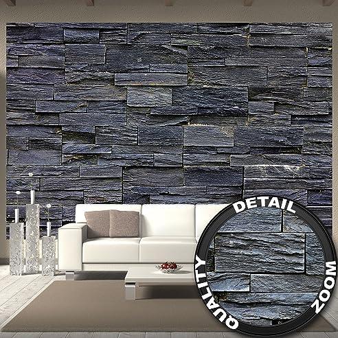 Fototapete 3D Effekt Black Stonewall Wandbild Dekoration Tapete In
