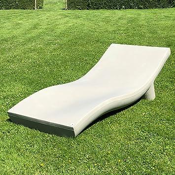 Chaise longue de salon de jardin design haut de gamme amande ...