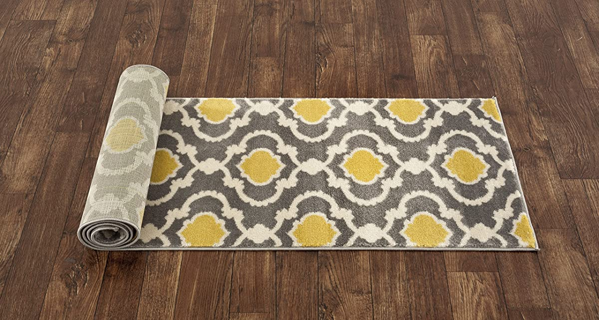 "Rugshop Moroccan Trellis Contemporary Indoor Area Rug Runner, 2 x 72"", Gray/Yellow"