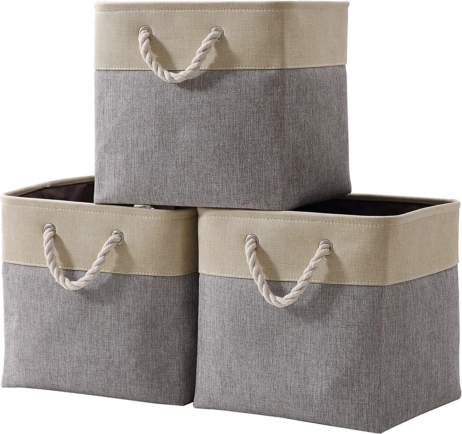 "DECOMOMO Foldable Storage Bin | Collapsible Sturdy Cationic Fabric Storage Basket Cube W/Handles for Organizing Shelf Nursery Home Closet (Grey & Beige, Cube - 13 x 13 x 13""- 3 Pack)"