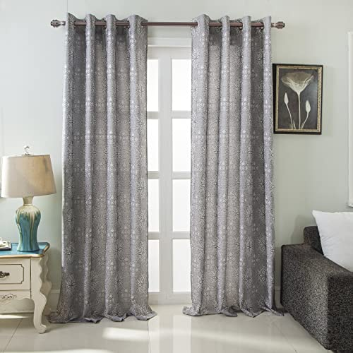 RT Designers Collection, Silver Elsa Floral Jacquard 54 x 84 in. Grommet Single Curtain Panel, 54 x 84