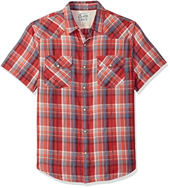 a8805b0cd2f Lucky Brand Men's Short Sleeve Plaid Western Button Down Shirt in RED  Multi
