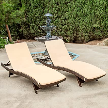 Superior Christopher Knight Home 216304 Salem Patio Chaise Lounge, Multibrown/Beige