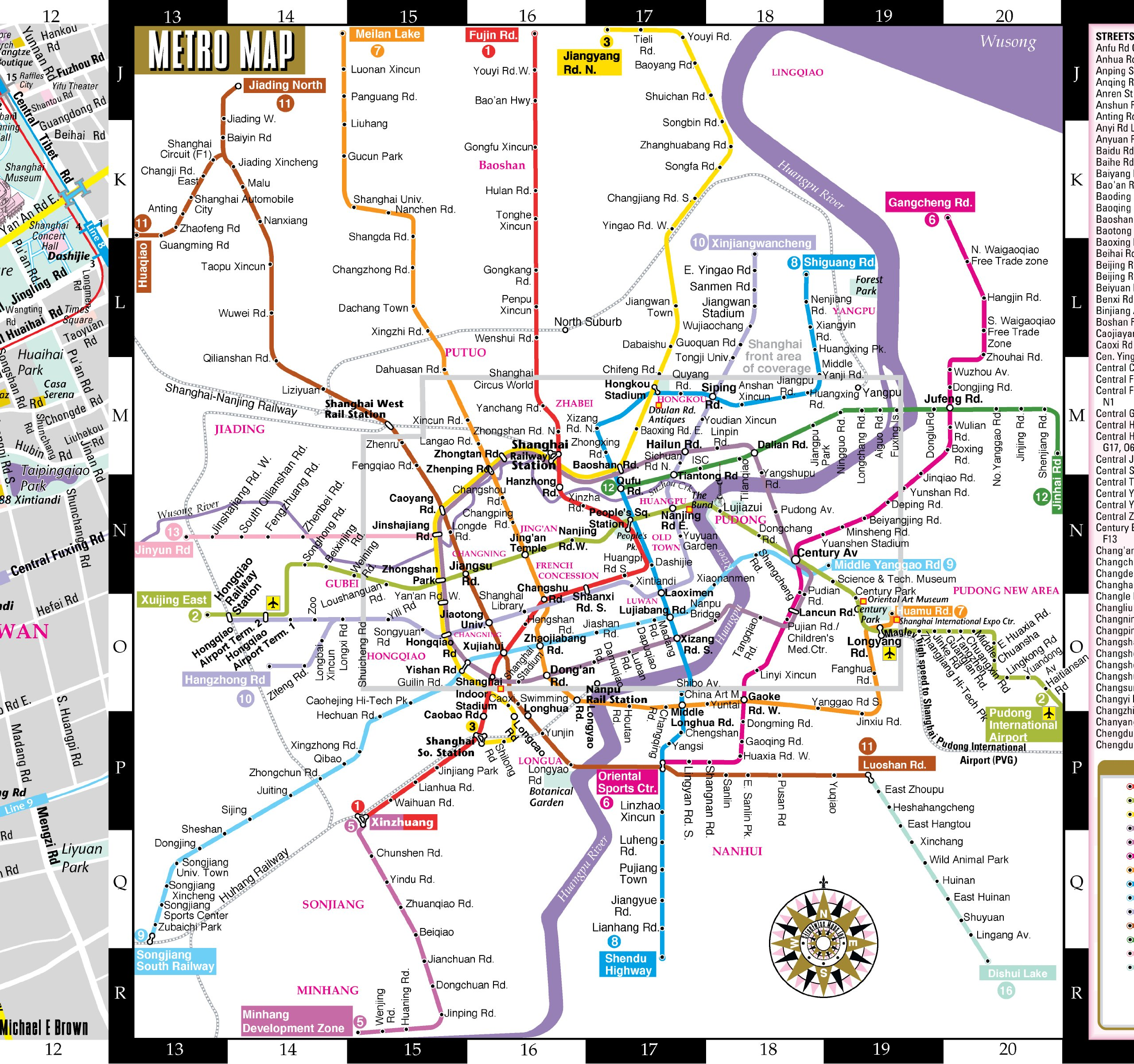 Streetwise Shanghai Map Laminated City Center Street Map of
