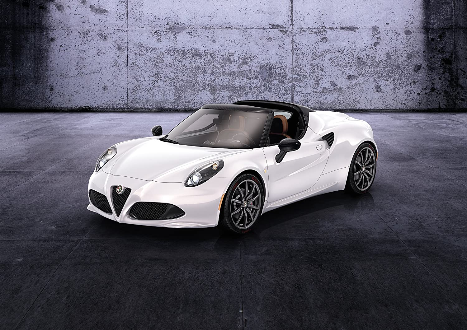 """Alfa Romeo 4C Spider (2014) Car Art Poster Print on 10 mil Archival Satin Paper White Front Side Static View 36""""x24"""""""
