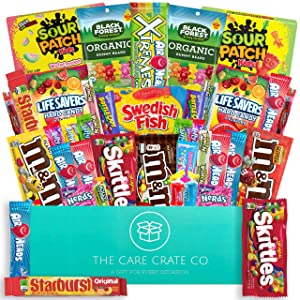 The Care Crate Ultimate Candy Snack Box Care Package ( 40 piece Candy and Snack Pack ) Includes 20 Full Size Candies - Starburst, Skittles, Twizzlers & More!