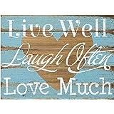 Malden International Designs Rustic Wall Sign Live Well Laugh Often Love Much Silkscreened Pallet Wood Sign, 12x16, Barnwood
