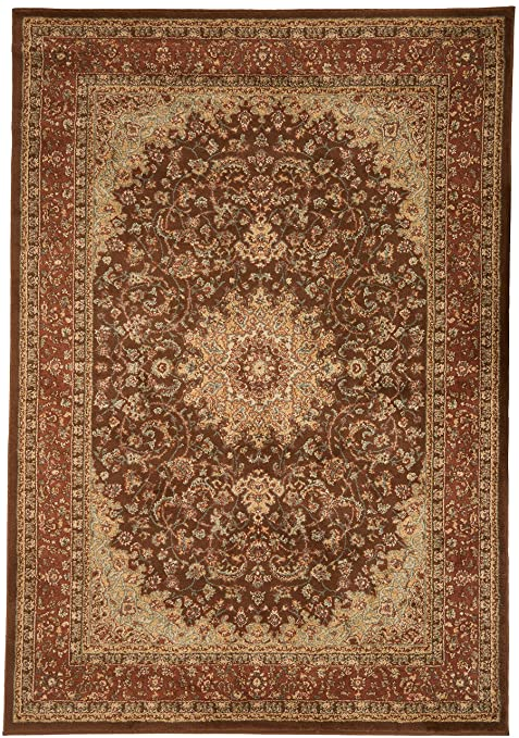 New City Chocolate Brown Traditional Isfahan Wool Persian Area Rugs 5 2 X 7 3