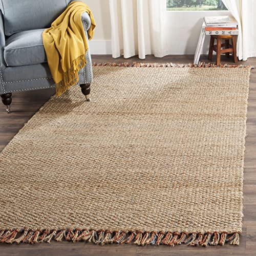 Safavieh Natural Fiber Collection NF455A Hand Woven Natural and Multi Jute Area Rug 9' x 12'