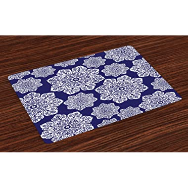 Ambesonne Navy Blue Place Mats Set of 4, Floral Lace Graphic Print Snowflake Themed Pattern Ornate Circle Batik Texture, Washable Fabric Placemats for Dining Room Kitchen Table Decor, White Blue
