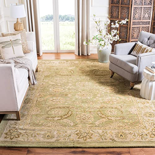 Safavieh Antiquities Collection AT24A Handmade Traditional Oriental Green and Ivory Wool Area Rug 6 x 9