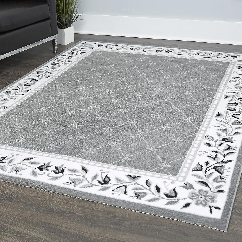 "Home Dynamix 7015-45 Lyndhurst Sheraton Area Rug, 7'8""x10'7"" Rectangle, Gray"
