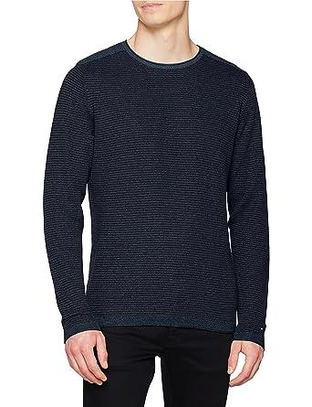 Tommy Hilfiger Textured Denim Look Sweater, Pull Homme, (Vintage Indigo HTR 094), Medium