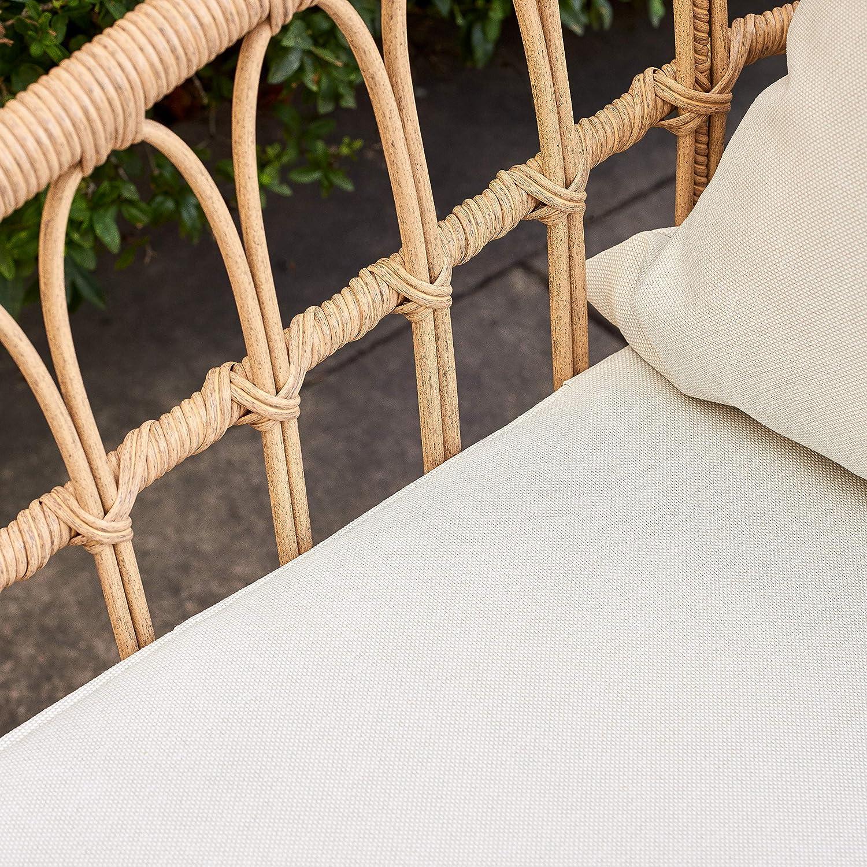 Tan Wicker Quality Outdoor Living 65-YZSP02 Hermosa 3 Piece Chat Set Light Beige Cushions