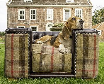 Burghley - Botones Cuadrado Chesterfield cama para perro Madera de Caoba Piel y Hunter Tweed: Amazon.es: Productos para mascotas