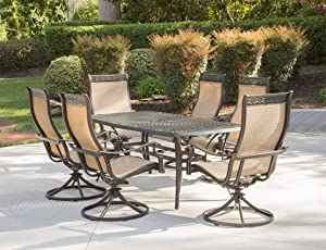 Hanover MANDN7PCSW-6 7 Piece Dining Set with 6 Rockers & Dining Table Outdoor Furniture, Tan