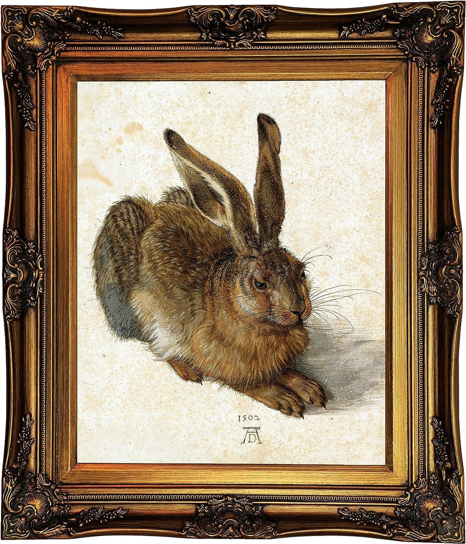 Historic Art Gallery Hare - The Rabbit 1502 by Albrecht Durer Framed Canvas Print, Size 16x20, Gold