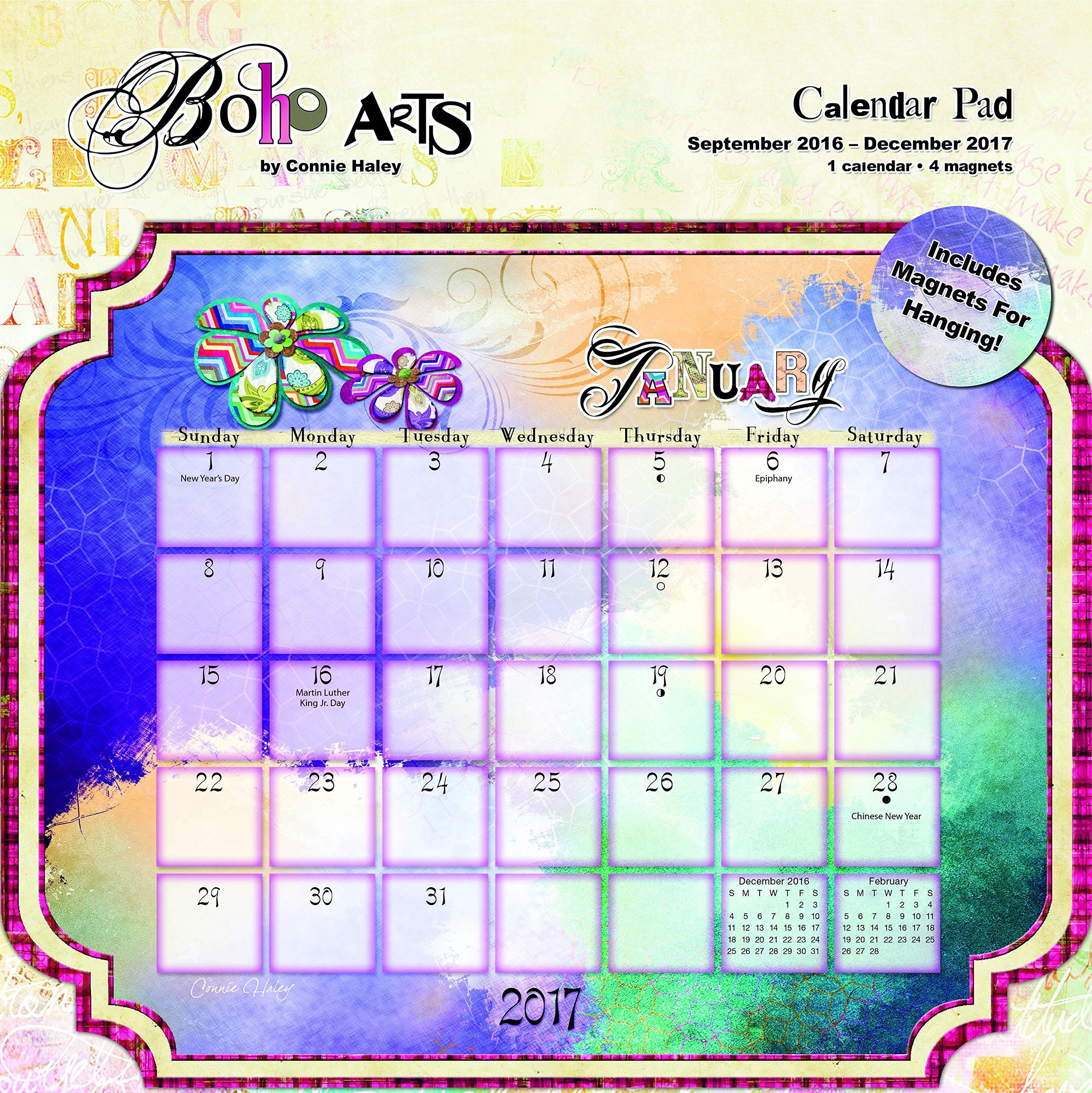 "Trends International 2017 Die-Cut Calendar Pad, September 2016 - December 2017, 12"" x 12"", Boho Arts By Connie Haley pdf epub"