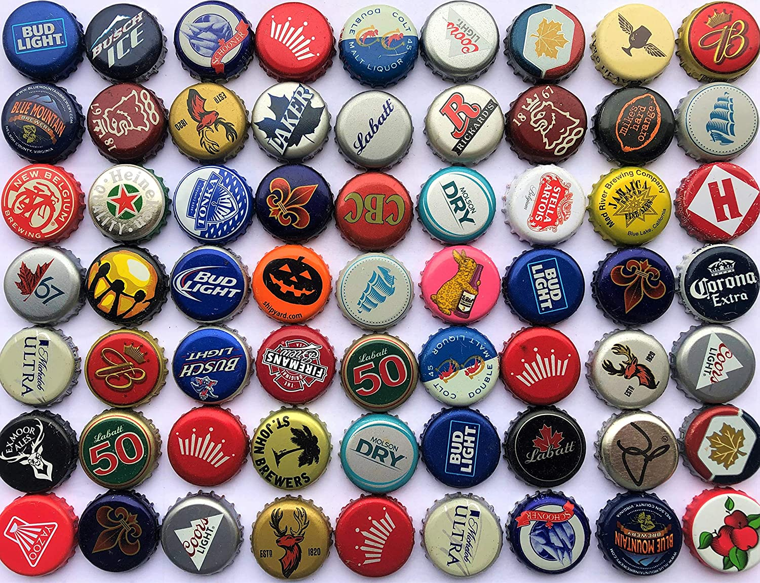 100 Assorted Beer Bottle Caps from North America Including Micro and Macro Breweries