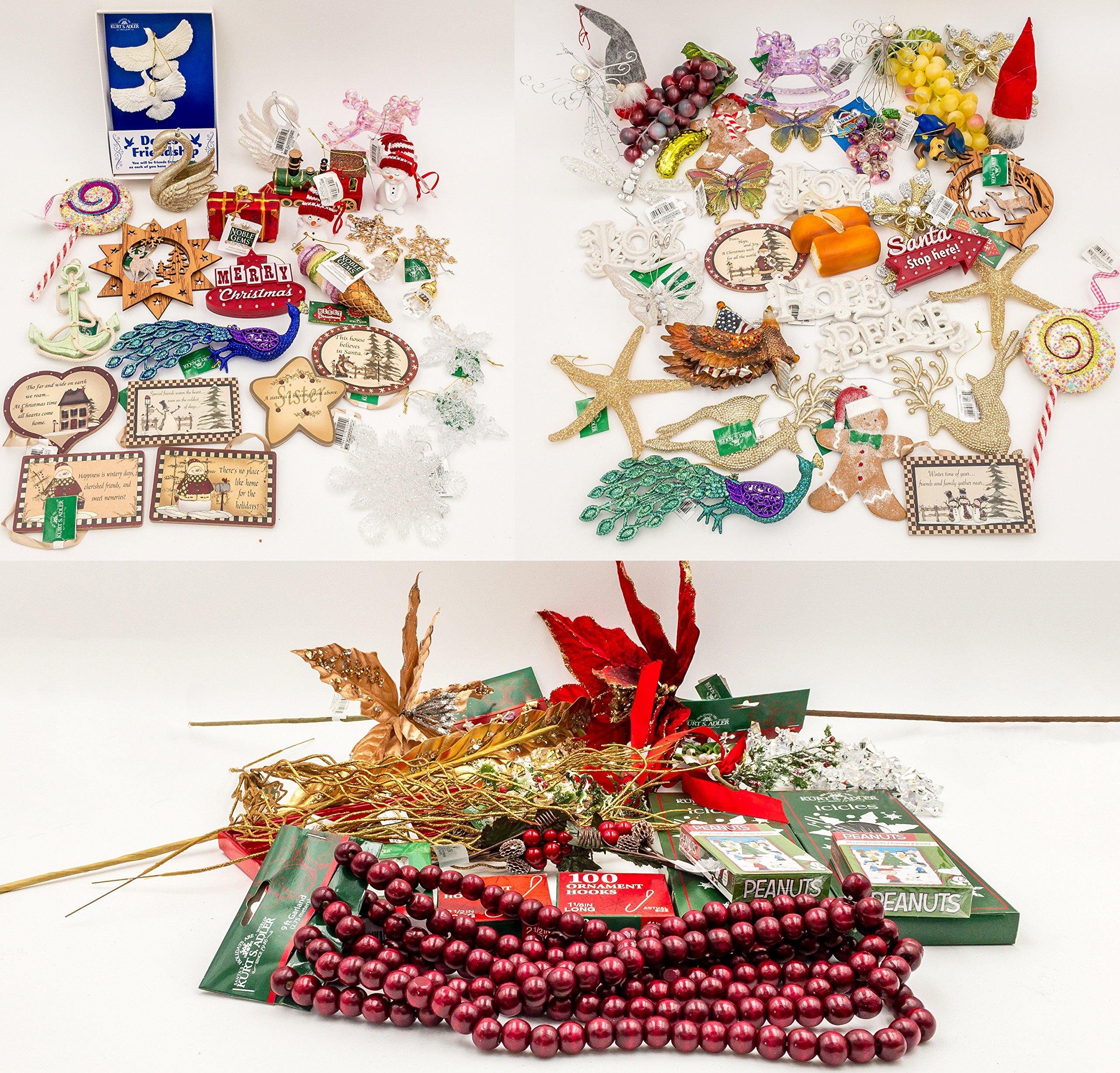 JZ Bundles Mega Set - Best of Christmas - Kurt Adler - 86-Piece Bundle - A Bundle of Christmas Ornaments Great Gift