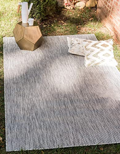 Unique Loom Outdoor Solid Collection Casual Transitional Indoor and Outdoor Flatweave Light Gray Area Rug 9 0 x 12 0