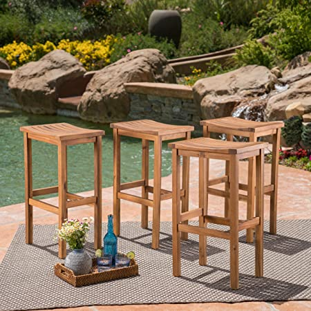 Great Deal Furniture Cassie Outdoor 30 Inch Natural Finish Acacia Wood Barstools Set of 4