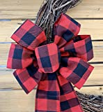 "Red Black Buffalo Plaid Ribbon - 2 1/2"" x 10 Yards, Wired Edge, Christmas Tree Ribbon, Checkered, Wreath, Garlands, Swag, Bows, Gift Basket, Birthday"