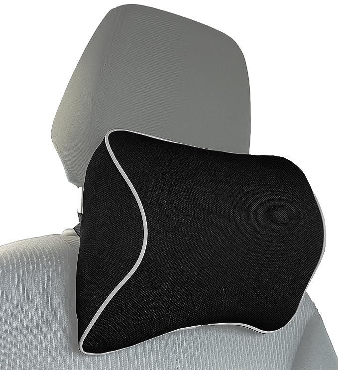 MyGadget Cojin de Cuello para Coche - Almohada Cervical con Soportes Laterales para Conducir - Previene Dolor y Rigidez de Espalda Durante el Viaje - ...