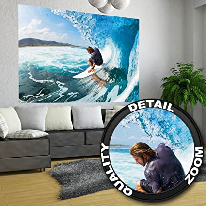 Surfer wave photo wallpaper surfer catching a wave mural xxl wall decoration 55 inch