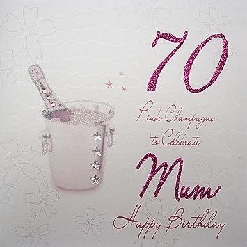 White Cotton Cards Wba70p M Pink Champagne 70 To Celebrate Mum