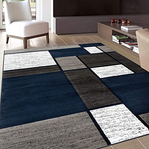 Rugshop Contemporary Modern Boxes Area Rug 10' x 14' Navy