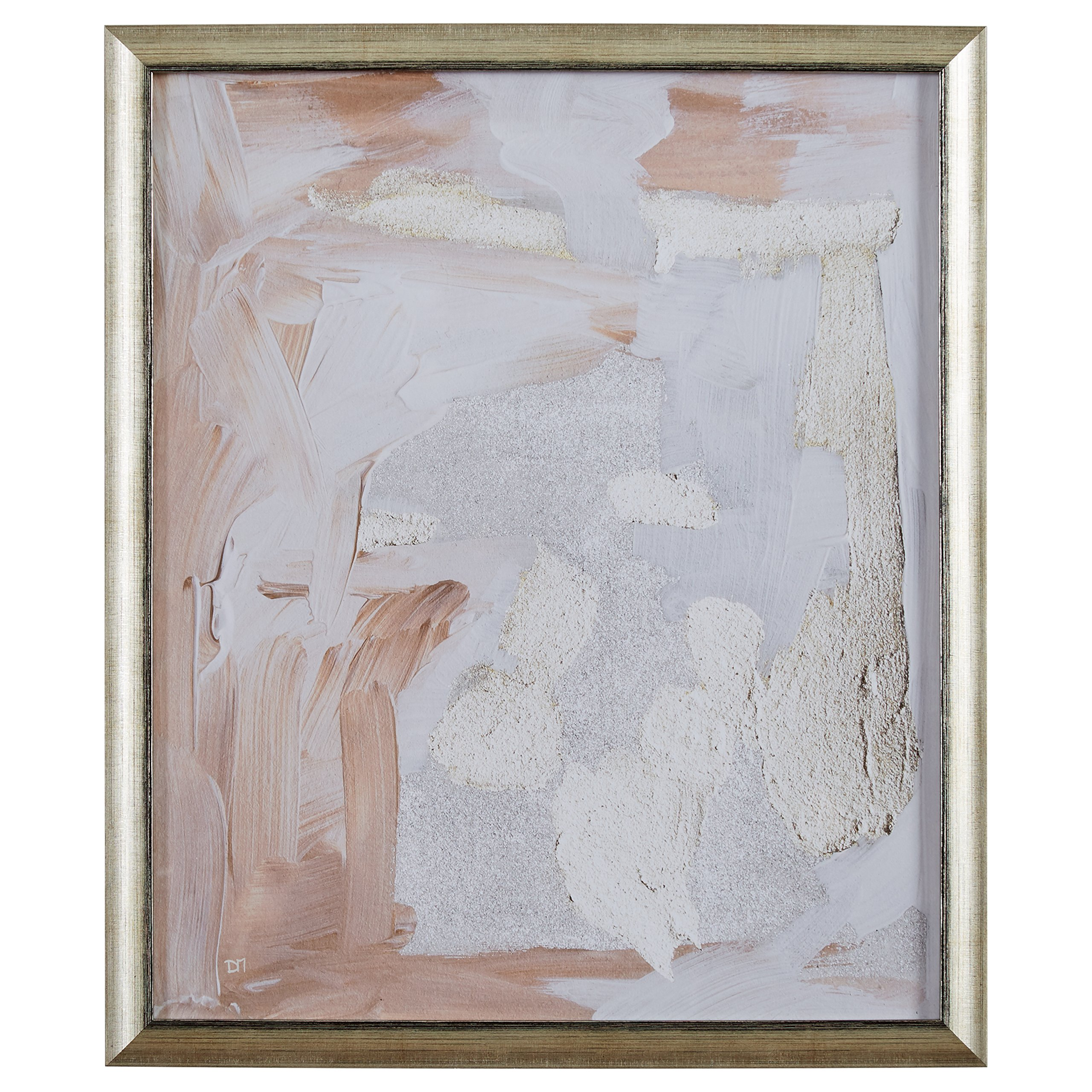 Modern Abstract Pale Rose and White Textured Print, in Gold Frame, 22'' x 26''