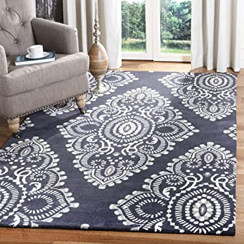 Amazon Com Safavieh Wyndham Collection Wyd372c Handmade Modern Premium Wool Area Rug 3 X 5 Dark Grey Ivory Furniture Decor