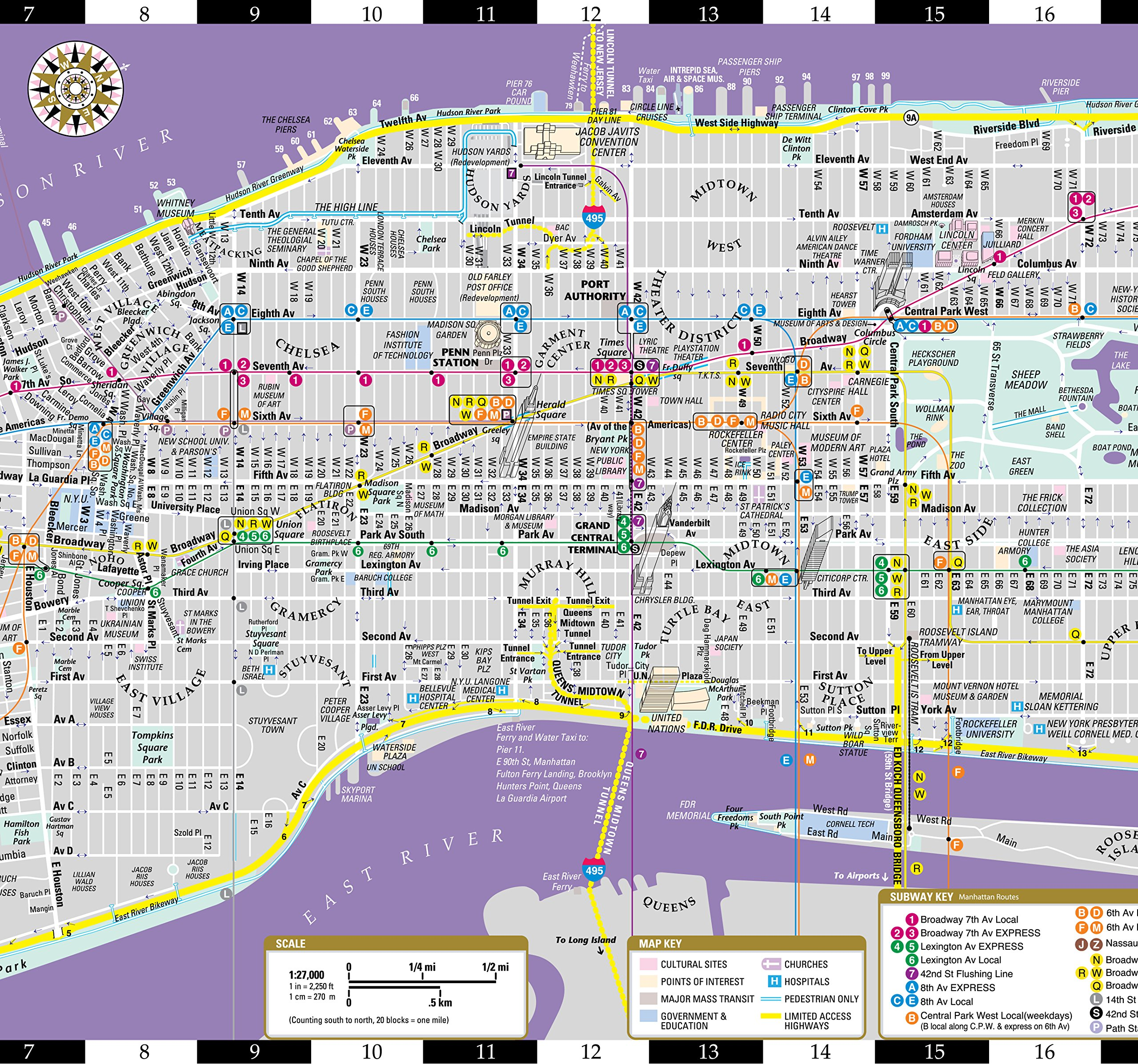 Subway Map From 88 St To 59th Street.Streetwise Manhattan Map Laminated City Center Street Map Of
