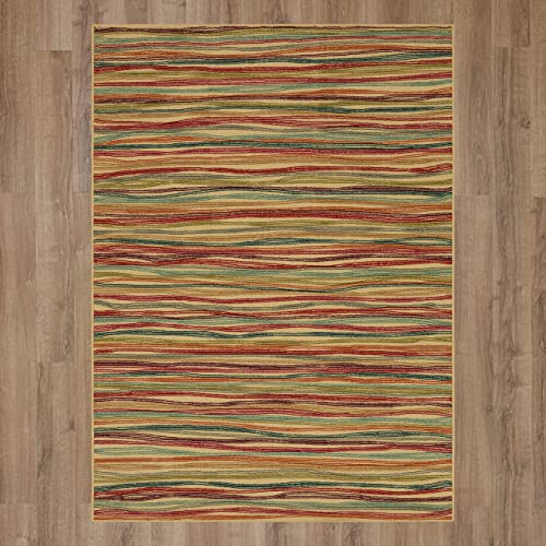 Mohawk New Wave Rainbow Dusk Striped Printed Area Rug