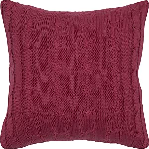 "Rizzy Home T04980 Decorative Pillow, 18""X18"", Red"