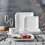 Vancasso YOLANDA 30pcs Service de Table Porcelaine 6 Assiettes Plates 6 Assiettes à Dessert 6 Assiette Creuse 6 Tasses à Café 6 Soucoupes Vaisselle Céramique pour 6 Personnes