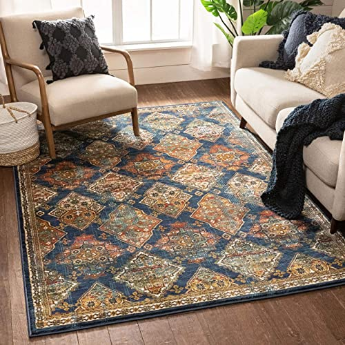 Well Woven Callie Blue Traditional Panel Area Rug 5×7 5 3 x 7 3