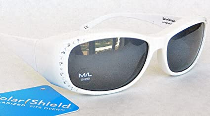 6d0fe06882 Image Unavailable. Image not available for. Color  SOLAR SHIELD  quot Fit  Over Your RX Glasses quot  Polarized Rhinestone Sunglasses ...
