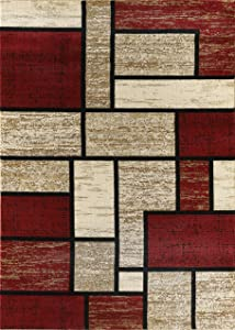 Golden Rugs Area Rug Abstract Modern Boxes Grey Black Turquoise Carpet Bedroom Living Room Contemporary Dining Accent Sevilla Collection 6614 (8x10, Dark Red)