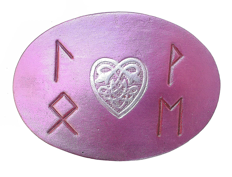 Handmade Pink Leather Celtic Heart Love Runes Hair Clip Barrette