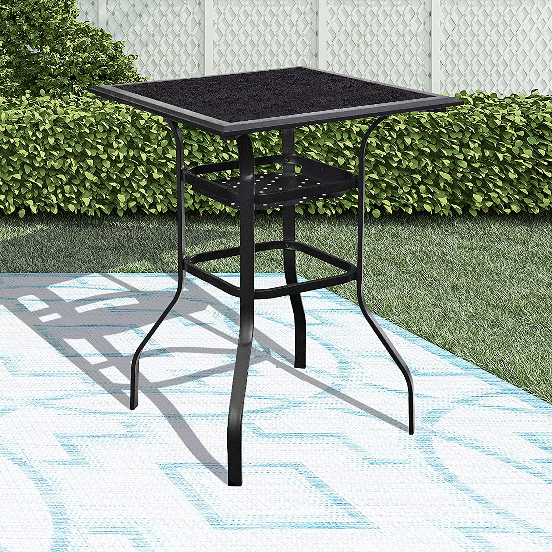 LOKATSE HOME High Outdoor Patio Bar Height Glass Top Table, Black